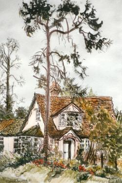 Cottage with Fir Tree by Joan Thewsey