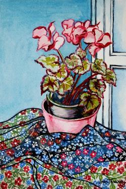Cyclamen with Patterned Fabrics,1999 by Joan Thewsey