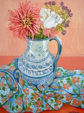 Dahlias, Roses and Michaelmas Daisies by Joan Thewsey