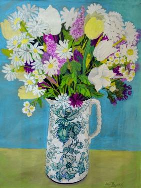Flowers in a Jug, turquoise decoration,2011 by Joan Thewsey