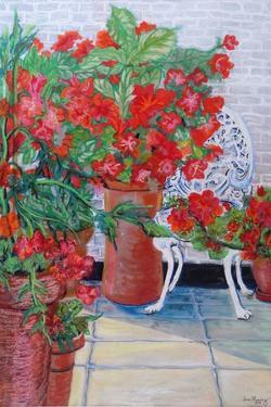 Geraniums and Petunias on the Terrace, 2011 by Joan Thewsey