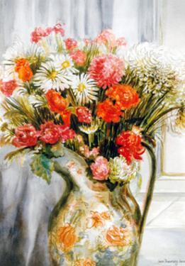 Mixed Flowers with Chrysanthemums in a Jug by Joan Thewsey