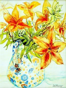 Orange Lilies in a Japanese Vase, 2000 by Joan Thewsey