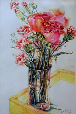 Pink Roses with Cottage Pinks by Joan Thewsey