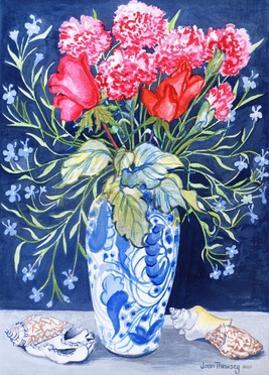 Roses, Carnations and Lobelia in a Blue and White Vase,3 Shells Textiles 2011 by Joan Thewsey