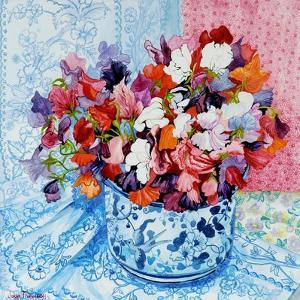 Sweet Peas in a Blue and White Pot, 2010 by Joan Thewsey