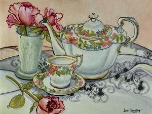 Teatime with Roses and a Cutwork Cloth by Joan Thewsey