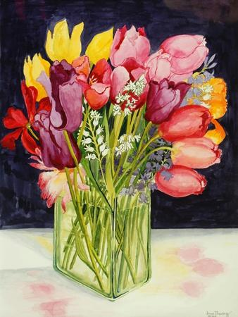 Tulips and Bluebells in a Rectangular Glass Tub, 2001