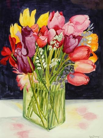 Tulips and Bluebells in a Rectangular Glass Tub, 2001 by Joan Thewsey