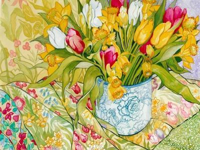 Tulips and Daffodils with Patterned Textiles, 2000