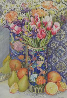 Tulips in a Japanese Vase with Fruit by Joan Thewsey