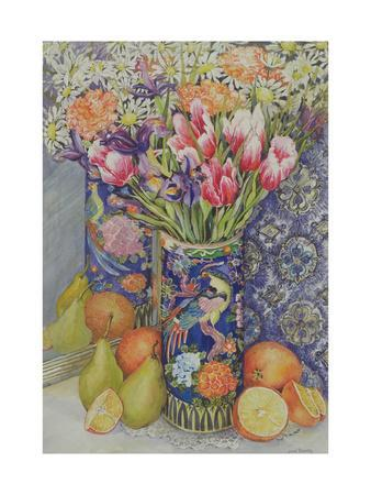 Tulips in a Japanese Vase with Fruit