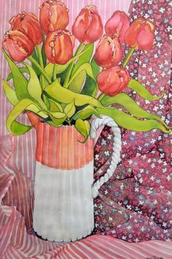 Tulips in a Pink and White Jug, 2005 by Joan Thewsey