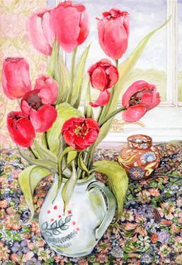 Tulips in a Rye Jug by Joan Thewsey