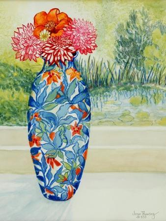 Vase with Dahlias and View of the Pond, 2001 by Joan Thewsey