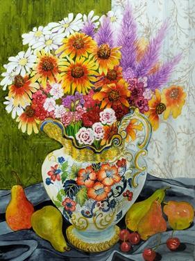 Victorian Jug with Mixed Flowers,Pears and Cherries, 2010 by Joan Thewsey