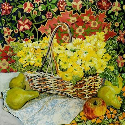 Yellow Primroses in a Basket, with Fruit and Textiles, 2010
