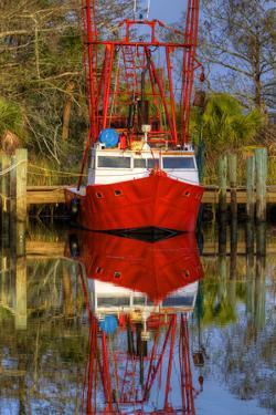 Red Shrimp Boat Docked in Harbor, Apalachicola, Florida, USA by Joanne Wells