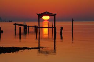 USA, Florida, Apalachicola, Sunrise at an old boat house at Apalachicola Bay. by Joanne Wells