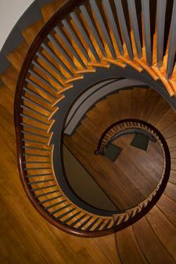 USA, Kentucky, Pleasant Hill, Spiral Staircase at the Shaker Village by Joanne Wells