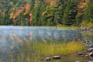 USA, Maine. Acadia National Park, fall reflections with fog at Bubble Pond. by Joanne Wells