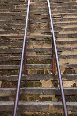 USA, Savannah, Georgia. Steep historic steps along river street. by Joanne Wells