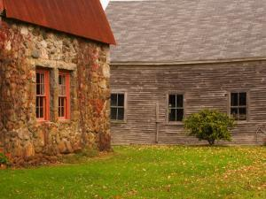 Wooden Barn and Old Stone Building in Rural New England, Maine, USA by Joanne Wells