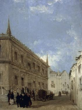 Mascaras De Carnaval a La Salida De La Lonja De Sevilla, 1841 by Joaquin Dominguez Becquer
