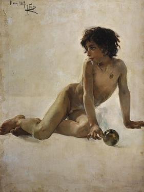 Bildnis Eines Nackten Knaben(Akademia) 1887 by Joaquin Sorolla