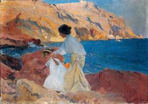Clotilde and Elena on the Rocks, Javea, 1905 by Joaquín Sorolla y Bastida