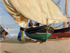 Fishermen, Stranded Boats, Valencia; Pescadores, Barcas Varadas, Valencia by Joaquin Sorolla y Bastida