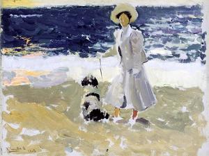 Lady and Dog on the Beach, 1906 by Joaquín Sorolla y Bastida