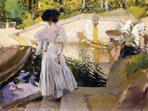 Maria Looking at the Fishes, Granja, 1907 by Joaquín Sorolla y Bastida