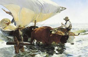 Retorno de la Pesca, Remolcando la Barca by Joaquín Sorolla y Bastida