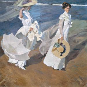 Strolling Along The Seashore by Joaquín Sorolla y Bastida