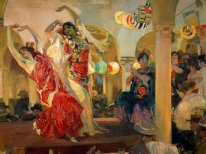 Women Dancing Flamenco at the Café Novedades in Seville, 1914 by Joaquín Sorolla y Bastida