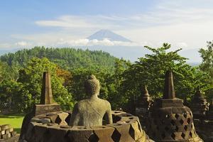 Borobodurwith Mount Merapi in the Distance, Kedu Plain, Java, Indonesia by Jochen Schlenker