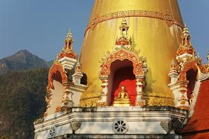 Buddhist Temple and Doi Chiang Dao, Chiang Dao, Chiang Mai Province, Thailand, Southeast Asia, Asia by Jochen Schlenker