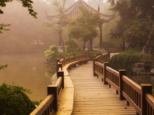 Footpath and Pavillon, West Lake, Hangzhou, Zhejiang Province, China, Asia by Jochen Schlenker