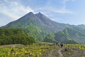Hikers at Mount Merapi, Java, Indonesia, Southeast Asia, Asia by Jochen Schlenker