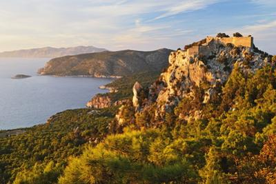 Monolithos Castle and Aegean Sea, Rhodes, Dodecanese, Greek Islands, Greece, Europe by Jochen Schlenker