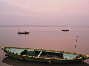 River Ganges (Ganga) at Sunrise, Varanasi (Benares), Uttar Pradesh, India, Asia by Jochen Schlenker