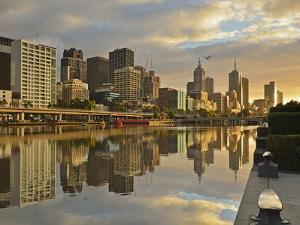 Sunrise, Melbourne Central Business District (Cbd) and Yarra River, Melbourne, Victoria, Australia by Jochen Schlenker