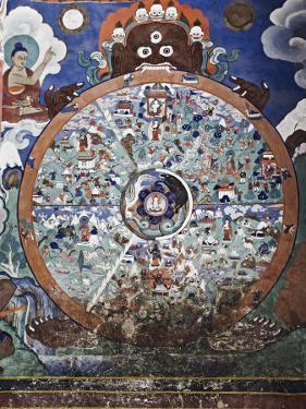 Wheel of Life Wall Art, Hemis Gompa (Monastery), Hemis, Ladakh, Indian Himalaya, India by Jochen Schlenker