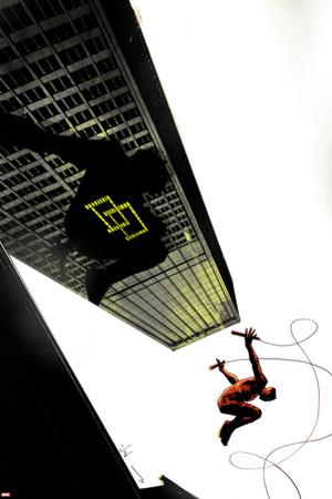 Daredevil: Reborn No.4 Cover: Daredevil Jumping from Buildings