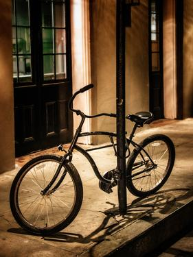 Bicycle Leaning Against Post in USA by Jody Miller