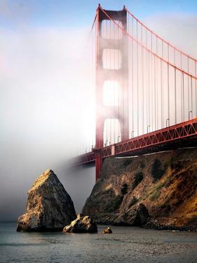 The Golden Gate Bridge Shrouded in Mist at Sunrise by Jody Miller