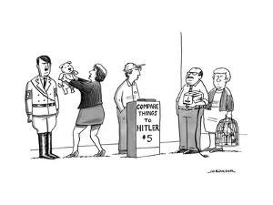 A line of people waiting to pay $5 to compare things to Hitler. - New Yorker Cartoon by Joe Dator