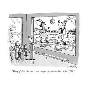 A museum curator leads a tour of children past a display of two gazelles d? - New Yorker Cartoon by Joe Dator