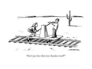 """Don't you love that new-handcar smell?"" - New Yorker Cartoon by Joe Dator"